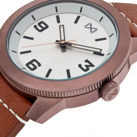 Mission WATCH STAINLESS STEEL IP BROWN STRAP MEN MISSION