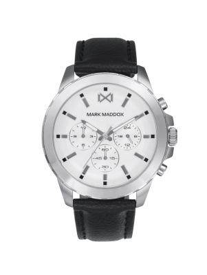 Marais Reloj de Hombre Mark Maddox Marais multifunción de acero y correa de piel sintética negra