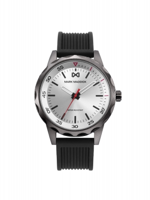 Mission_ch Reloj de Hombre Mark Maddox Mission, tres agujas ,aluminio con correa negra