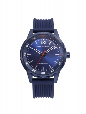 Mission_ch Reloj de Hombre Mark Maddox Mission, tres agujas, aluminio con correa  azúl