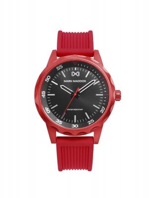 Mission_ch Reloj de Hombre Mark Maddox Mission, tres agujas, aluminio con correa rojo