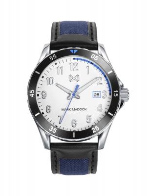 Mission_ch Reloj de Hombre Mark Maddox Mission, tres agujas con calendario, con correa negra