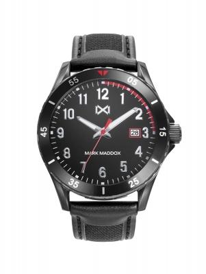 Mission_ch Reloj de Hombre Mark Maddox Mission, tres agujas con calendario,acero con correa negra