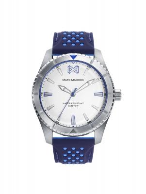 Mission_ch Reloj de Hombre Mark Maddox Mission, tres agujas, acero con correa azúl