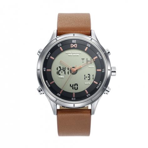 Shibuya Reloj de Hombre Mark Maddox Shibuya analógico y digital de acero con correa de piel sintética marrón