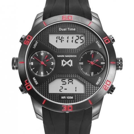 Mission_ch Reloj de Hombre Mark Maddox Mission analógico y digital de acero con IP gris y correa de silicona