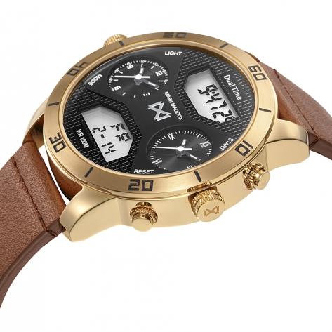 Mission_ch Reloj de Hombre Mark Maddox Mission analógico y digital de acero con IP dorado y correa de piel marrón