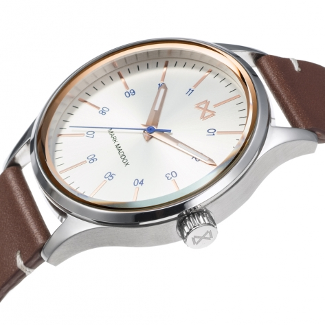 Village Mark Maddox Village Men's Watch three hands steel with brown synthetic leather strap