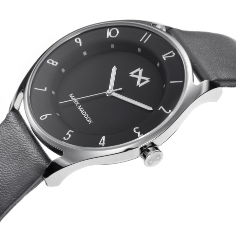 Venice Mark Maddox Venice Men's Watch three hands stainless steel with grey synthetic leather strap