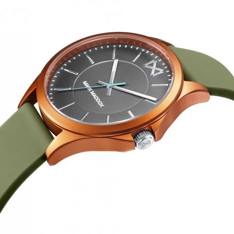 Shibuya Reloj de Hombre Mark Maddox Shibuya tres agujas de aluminio naranja y correa de silicona verde