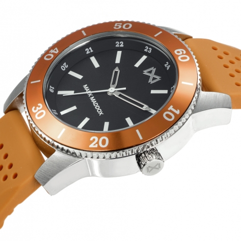 Mission_ch Men's Mark Maddox Mission three hands steel and aluminum watch with orange silicone strap