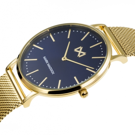 Greenwich Reloj de Hombre Mark Maddox Greenwich tres agujas de acero IP dorado y malla milanesa