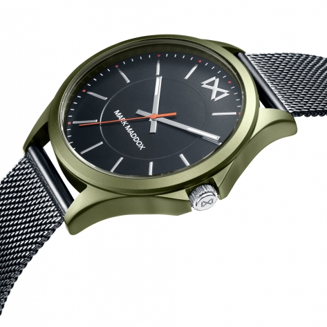 Shibuya Reloj de Hombre Mark Maddox Shibuya tres agujas de aluminio verde y malla milanesa IP gris