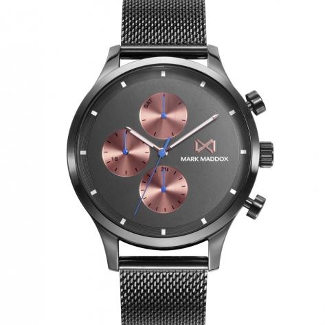 Village Reloj de Hombre Mark Maddox Village multifunción de acero con IP gris y malla milanesa