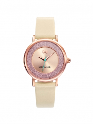 Tooting Reloj de mujer Mark Maddox Tooting de acero con IP rosa y correa  beige