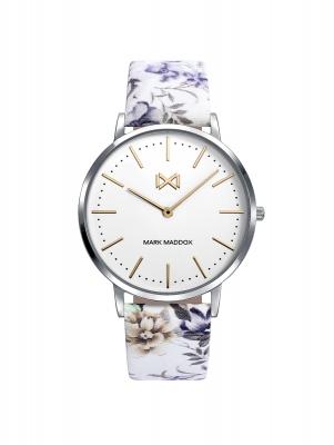 Greenwich Reloj de Mujer Mark Maddox Greenwich tres agujas de acero y correa de piel sintética con estampado floral