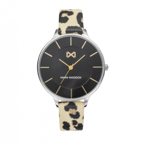 Alfama Women's Watch Mark Maddox Alfama three hands steel and faux leather strap with animal print