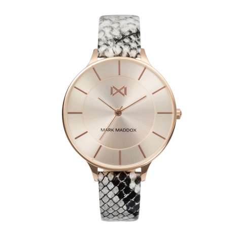 Alfama Women's Watch Mark Maddox Alfama three hands steel IP pink and faux leather strap with animal print