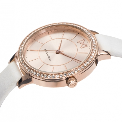 Alfama Women's Watch Mark Maddox Alfama three hands steel IP pink and white synthetic leather strap