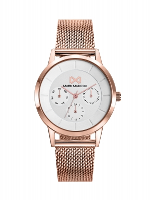 Northern Reloj de Mujer Mark Maddox Northern multifunción de acero IP rosa y malla milanesa