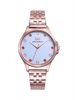 Tooting_bm Reloj de Mujer Mark Maddox Tooting tres agujas de acero con IP rosa y brazalete