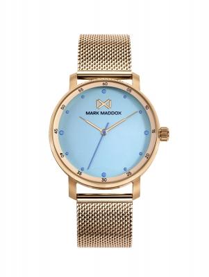 Midtown_bm Reloj de Mujer Mark Maddox Midtown,tres agujas, acero con malla milanesa en IP dorado