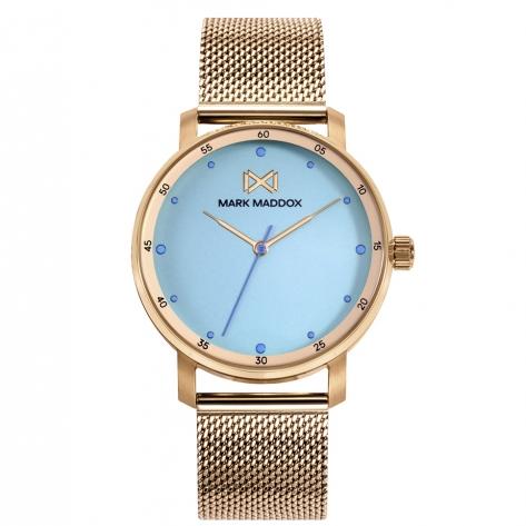 Midtown Reloj de Mujer Mark Maddox Midtown,tres agujas, acero con malla milanesa en IP dorado